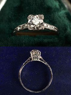 1920s Art Deco 0.75ct (G/H SI1) European Cut Diamond Ring  18K White Gold, Single Cut Diamond Sides