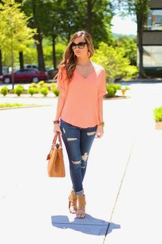 For All Things Lovely: Neon Coral + Destroyed Jeans