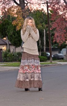 tribal maxi skirt with sweater, How to style your maxi skirt in winter http://www.justtrendygirls.com/how-to-style-your-maxi-skirt-in-winter/