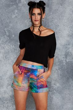 Galaxy Rainbow Cuffed Shorts - 7 DAY UNLIMITED ($70AUD) by BlackMilk Clothing