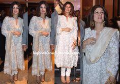 twinkle-khanna-rajesh-khanna-utv-statue-unveiling - white chikankari suit - love!