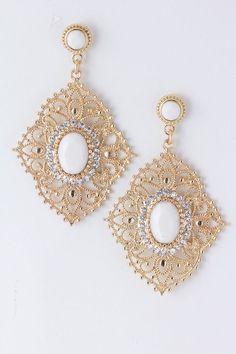 Ivory Lace Filigree Earrings