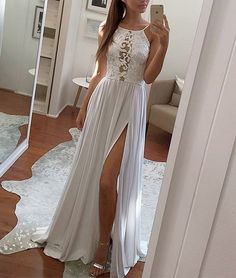 Buy Elegant Sexy Simple White Lace Chiffon Long White Halter with Slit Prom Dresses uk in uk.Shop our beautiful collection of unique and convertible long Prom dresses from PromDress.uk,offers long bridesmaid dresses for women in the UK. Grey Prom Dress, Simple Prom Dress, A Line Prom Dresses, Cheap Prom Dresses, Sexy Dresses, Lace Dress, Lace Chiffon, Dress Long, Party Dresses