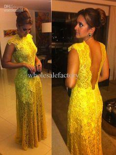 Vestidos De Renda Para Madrinhas Evening Dresses With Jewel Neckline Lace Applique V Line Backless Mermaid Prom Gowns BO2356, $145.0 | DHgate