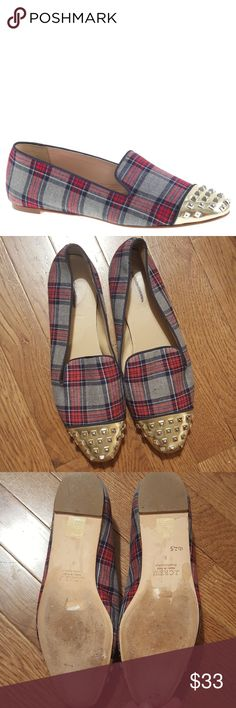 j crew// Darby plaid studded loafers In very good condition. There is a tiny spot on one loafer. They have been worn, but they still have lots of life left in them. J. Crew Shoes Flats & Loafers