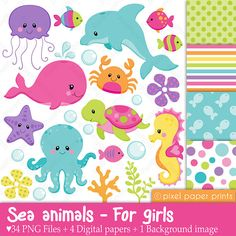 Sea animals for girls  Clip art and digital by pixelpaperprints, $6.00