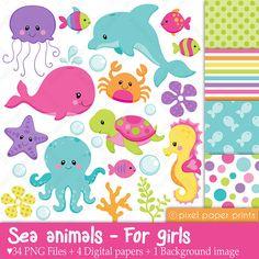 Animales marinos para niñas - Set de Clip Art y Papeles Digitales