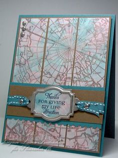 Map Card ~ Thanks for giving my life direction Note Cards, Thank You Cards, Housewarming Card, Life Map, Map Projects, Book Background, Photo Corners, Scrapbook Cards, Scrapbooking