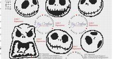 Christmas Perler Beads, Christmas Cross, Pearler Beads, Fuse Beads, Cross Stitch Designs, Cross Stitch Patterns, Cross Stitch Skull, Jack Skellington Faces, Stencil Designs