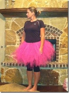 No sew tutu........part of my halloween costume. I've watched MANY tutorials on how to do this. This seems the most simple. I'm going to try elastic though instead of ribbon. (don't want to lose my tutu during the night because I didn't tie it tight enough, lol!)