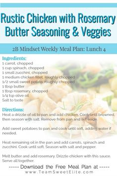 Clean Eating Recipes, Healthy Dinner Recipes, Healthy Eating, Healthy Dinners, Beachbody Shakeology, Flat Belly Foods, Different Diets, Rosemary Chicken, Clean Diet