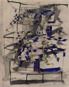 "yama-bato: "" Maria Helena Vieira da Silva Danseuses bleues (Danse II) watercolor and ink on paper 23 x 18 cm. Abstract Drawings, Abstract Art, Pablo Picasso, Poster Prints, Art Prints, Art Abstrait, Watercolor And Ink, American Artists, Sculpture Art"