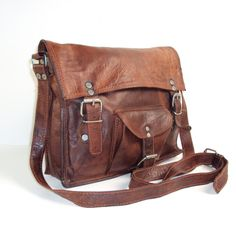 Brown Vintage LEATHER Bag/Messanger Bag by pascalvintage on Etsy