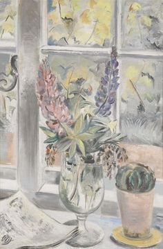 Paul Nash (British, 1889-1946), Lupins and Cactus, 1928. Oil on canvas.