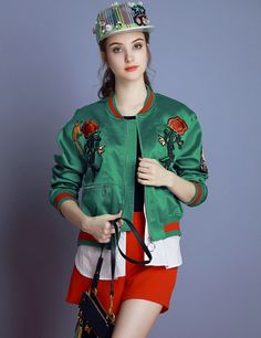Women High Quality baseball uniform female embroidery flower Bomber jacket women's punk rock jackets Ladies green pink coat 6075