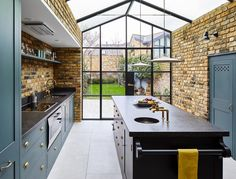 There are a lot of things I love about this kitchen. The beautiful Kitchen, the exposed brick, House Extension Design, Glass Extension, Roof Extension, Extension Ideas, Extension Google, Crittall Extension, Plain English Kitchen, English Kitchens, Kitchen Extension Side Return