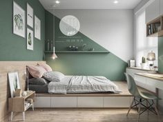 Colorful interior with connection: green, coral, blue & yellow decor . - Colorful interior with connection: green, coral, blue & yellow decor - Green Bedroom Design, Bedroom Green, Green Bedrooms, Coral Bedroom, Big Boy Bedrooms, Accent Wall Bedroom, Apartment Design, Apartment Living, Living Room Decor