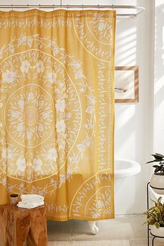 Bright and happy sunshine yellow shower curtain / Urban Outfitters Sketched Floral Medallion Shower Curtain Yellow Shower Curtains, Bathroom Shower Curtains, Colorful Shower Curtain, Unique Shower Curtains, Bohemian Shower Curtain, Wall Curtains, Mandala Shower Curtain, Boho Curtains, Bathroom Mirrors