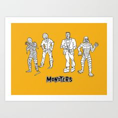 Universal Monsters ORANGE Edition Art Print by Christopher Chouinard - $20.00  Limited Run of 100