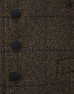 Holland Esquire Men's Double Windowpane Classic 5 Button Waist Coat - Tan