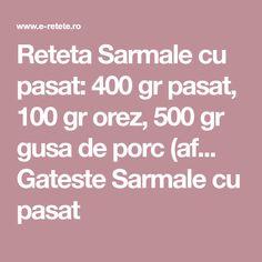 Reteta Sarmale cu pasat: 400 gr pasat, 100 gr orez, 500 gr gusa de porc (af... Gateste Sarmale cu pasat
