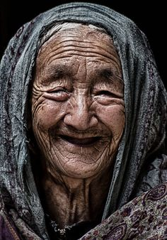 An old lady in the Turtuk Village of Ladakh Region in Jammu and Kashmir, India