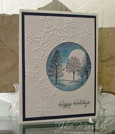 Stampin' Up! ... handmade winter/Christmas card from Stamping Impressions ...  winter scene in a circle ... Lovely as a Tree with sponging ... snowflake embossing folder ... great card ...