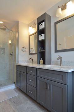 Inspiring Grey Small Bathroom Design Ideas on a budget - Bathroom Ideas - Decor - Bathroom Decor Grey Bathroom Cabinets, Bathroom Renos, Kitchen Cabinets, Grey Cabinets, Bathroom Ideas, Linen Cabinets, Kitchen Backsplash, Linen Cabinet In Bathroom, Grey Bathroom Vanity