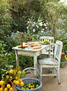 Thinking of fitting a place in our veggie garden for a table and a couple of chairs.  Just for wine, cheese and homemade bread...