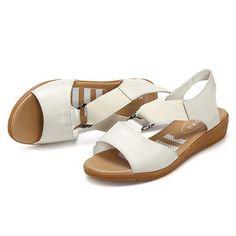 213f13e7d59 Cuero con banda elástica de suela cómoda blanda planas casuales sandalias  es barato en NewChic Cuero con banda elástica de suela cómoda blanda planas  ...