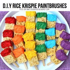 Rice Krispies Paint Brushes http://www.snackpicks.com/en_US/holidays-and-occasions/summer/kid-summer-party-treats.html