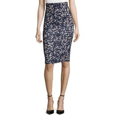 McQ Alexander McQueen Printed Contour Pencil Skirt ($135) ❤ liked on Polyvore featuring skirts, granite black, black skirt, high rise skirts, black high waisted skirt, high waist knee length pencil skirt and pencil skirt
