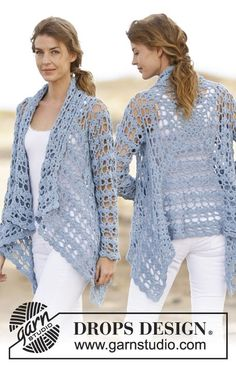 "Crochet DROPS jacket with lace pattern in ""Paris"". Size: S - XXXL. Free pattern by DROPS Design."