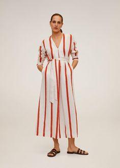 Striped midi dress - Women | Mango United Kingdom Flare, Striped Midi Dress, Poplin Dress, Matches Fashion, Stripes Design, Cool Style, Fashion Beauty, Blue And White, Summer Dresses