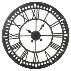 "Metal wall clock with openwork Roman numeral detail.    Product: ClockConstruction Material: MetalColor: Distressed blackAccommodates: Batteries - not includedDimensions: 24"" Diameter x 1.25"" D"