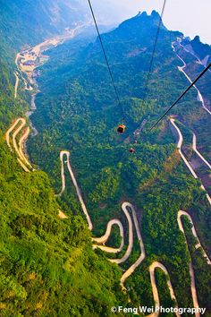 """Path to heaven by Feng Wei Photography, via Flickr.  Stunning view of the mountains and winding road in Mount Tianmen (Tianmenshan, a.k.a. """"Gateway to Heaven"""") National Forest Park in western Hunan province of China."""
