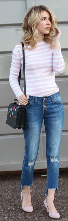Pink Stripped Knit / Ripped Denim / Pink Pumps / Black Shoulder Bag