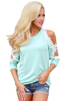 This long-sleeve top for new season must be the next fashion trend icon for women worldwide. It has round neckline, beautiful floral lace trim the cold shoulders and cutouts around elbows. Cuff banded at the end of long sleeves and hemline. Casual Tops For Women, Blouses For Women, Ladies Tops, Next Fashion, Online Clothing Stores, Women's Clothing, Lace Sleeves, Ladies Dress Design
