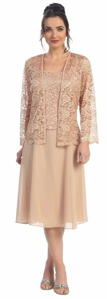 Short Gold Mother of Groom Dress Chiffon Knee Length Lace Jacket $98.99
