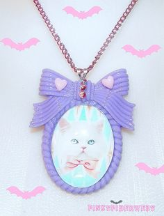 Pastel Lilac Kitty Cameo Necklace by Pinkspiderwebs on Etsy