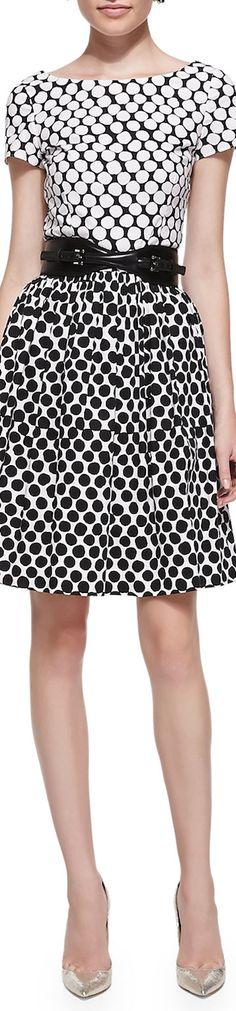 Oscar de la Renta Short-Sleeve Polka-Dot Contrast Dress