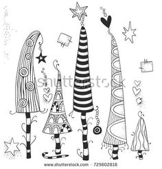Set Christmas Handdrawn Decorative Elements Vector Stock Vector (Royalty Free) 725602816 Set of Christmas hand drawn decorative elements in vector. Pattern for color christmas decorative elements FREE handdrawn Royalty Set stock Christmas Gnome, Christmas Art, Christmas Projects, Holiday Crafts, Black Christmas, Christmas Tree Drawing, Colorful Christmas Tree, Christmas Tree Zentangle, Zen Doodle