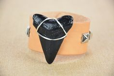 Megalodon Shark Tooth Bracelet by JustBeadHappy2 on Etsy https://www.etsy.com/listing/219856982/megalodon-shark-tooth-bracelet