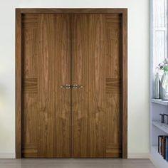 Sanrafael Lisa Flush Fire Double Door - Model K06 Walnut Prefinished. #walnutdesignerdoublefiredoors #doublewalnutdoors #internalwalnutfiredoors