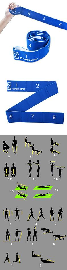 Flexibility Yoga Belt Yoga Strap Stretch Strap Exercise Strap Resistance Band with 8 Loops (Blue)