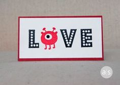 This adorable round monster is perfect for the 'O' in the word LOVE. What other words could you use this idea with? Post your ideas in the comments.  The Monster Bash stamp set is on sale for $18.74 as part of our Sweet Sale through 2/14/14. Click over to our website to see the other 53 products that are on sale! https://amusestudio.com/Order.asp?InvDispCatID=27&InvDispSubCatID=115 #amusestudio #rubberstamps #stamping #diy #handmadecard #cardideas