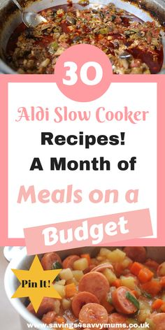 Here is a month of Aldi slow cooker recipes that the whole family will love including meals for under a head. No more cooking multiple meals by Laura at SlowCooker BudgetSlowCooker MealsforFamilies EasyMeal SlowCooker 207236020340555874 Slow Cooker Recipes Uk, Aldi Recipes, Healthy Recipes On A Budget, Yummy Recipes, Frugal Recipes, Cheap Recipes, Cooking For A Crowd, Cooking On A Budget, Cooking Ideas