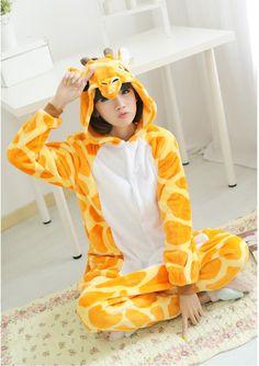 Flannel family animal pajamas one piece onsies onesies cosplay giraffe onesie giraffe giraffa girafe pijamas enteros de animales