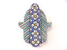 Moroccan Khamsa Hand Lucky Amulet Glazed Ceramic Mosaic Tile Hang Wall Decor #Handmade #Mediterranean