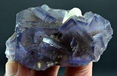 91 Gram Top Quality Blue Color & Color Change Fluorite Specimen With Calcite